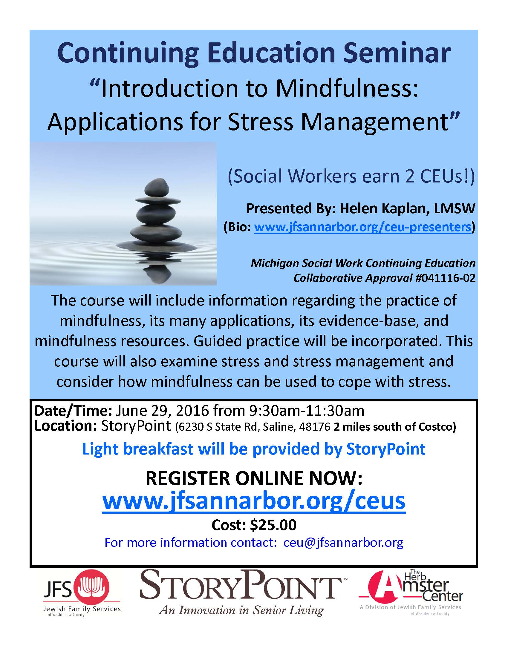 Introduction to Mindfulness Applications for Stress Management - CEU FLYER